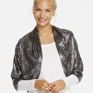 Fabletics Silver and Black Jersey Shrug Wrap